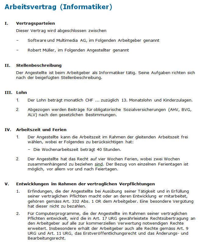 Arbeitsvertrag Informatiker Muster Nach Schweizer Recht Zum Download