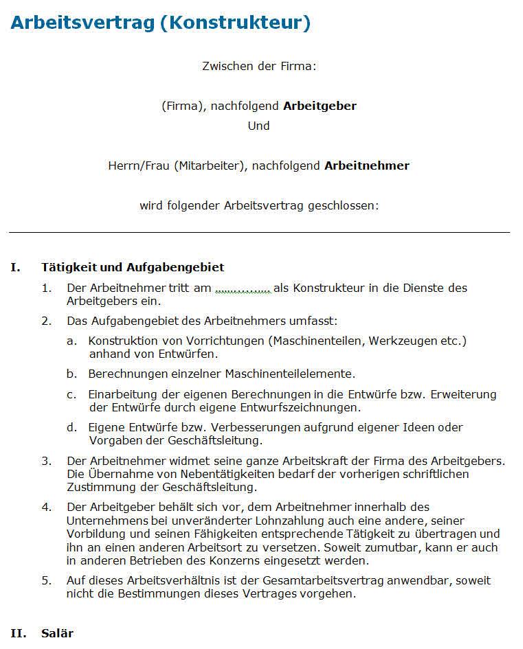 arbeitsvertrag ingenieurkonstrukteur - Rangrcktrittserklrung Muster