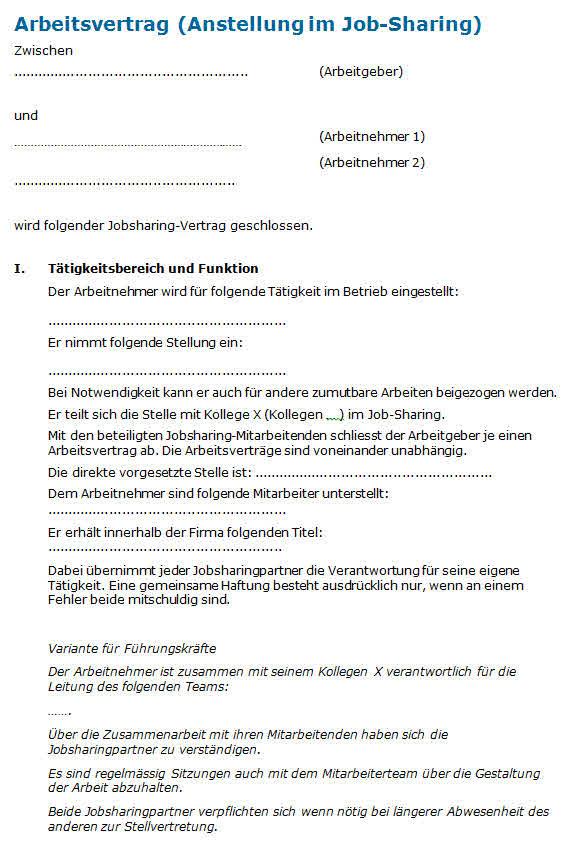 Job Sharing Muster Arbeitsvertrag Zum Download