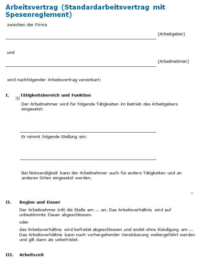 Arbeitsvertrag Mit Spesenreglement Vorlage Zum Download