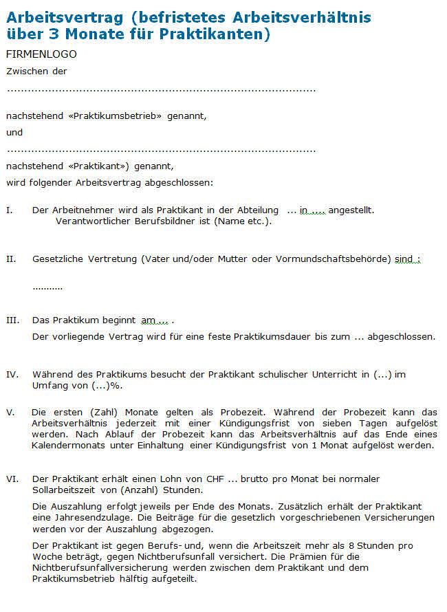 Praktikumsvertrag Vorlage Zum Download