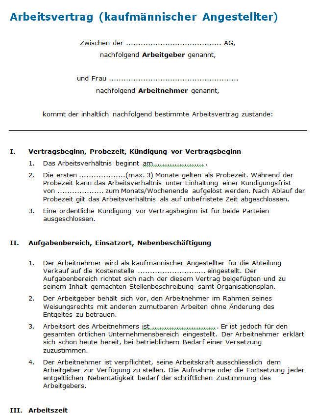 Vorlage Arbeitsvertrag Professionelles Muster Zum Download