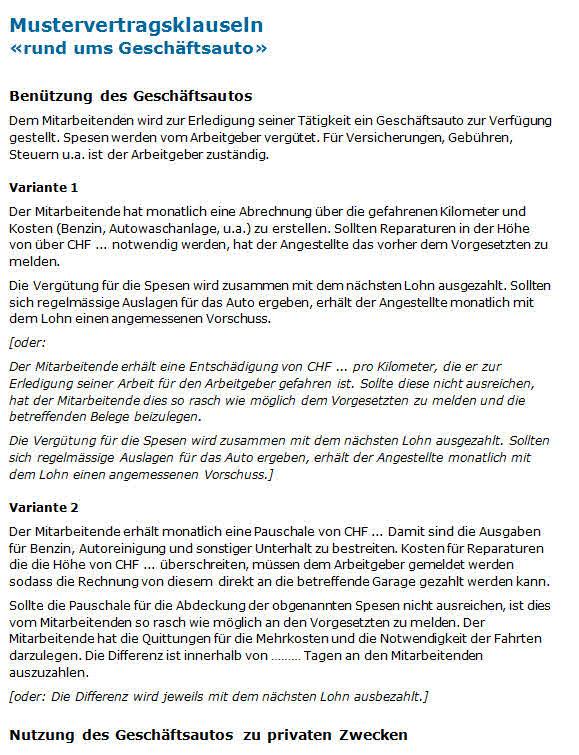 Geschäftsauto Musterklauseln Für Ein Mitarbeiterreglement