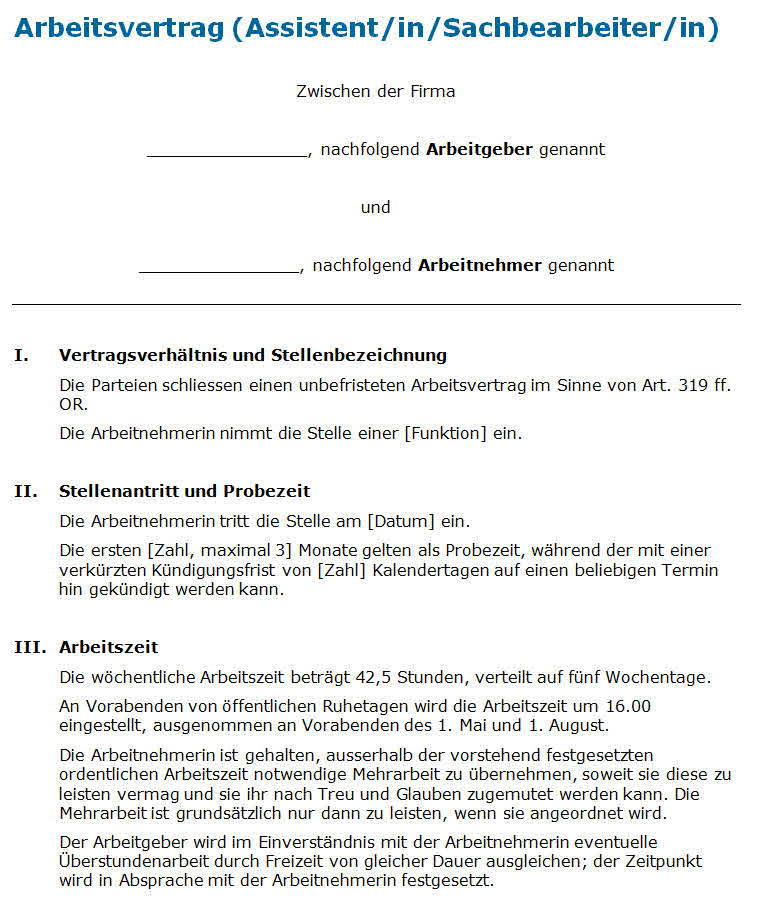 Arbeitsvertrag Assistent Muster Zum Download