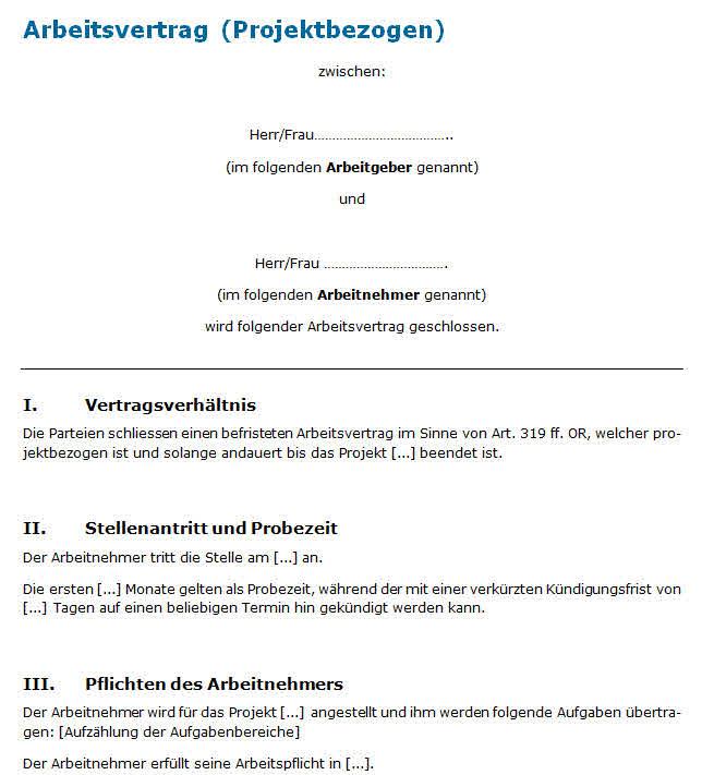 Muster Arbeitsvertrag Projektarbeit