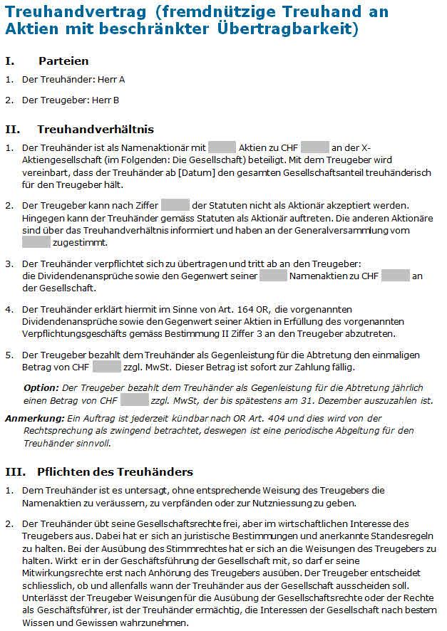 Treuhandvertrag fremdnützige Treuhand an Aktien: Muster zum Download.