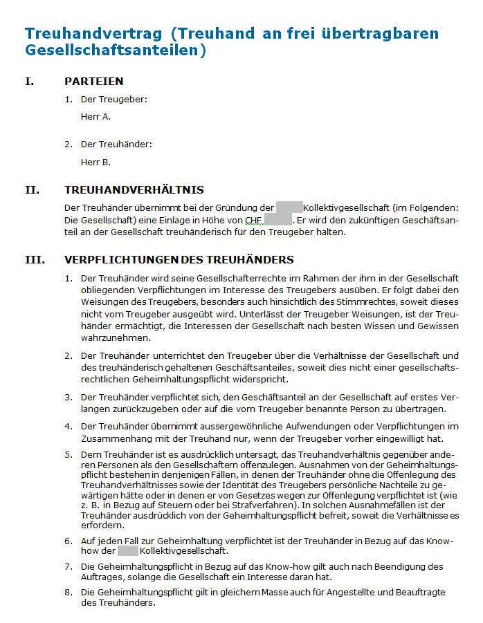 Vorlage für den Vertrag mit einem Schweizer Treuhänder