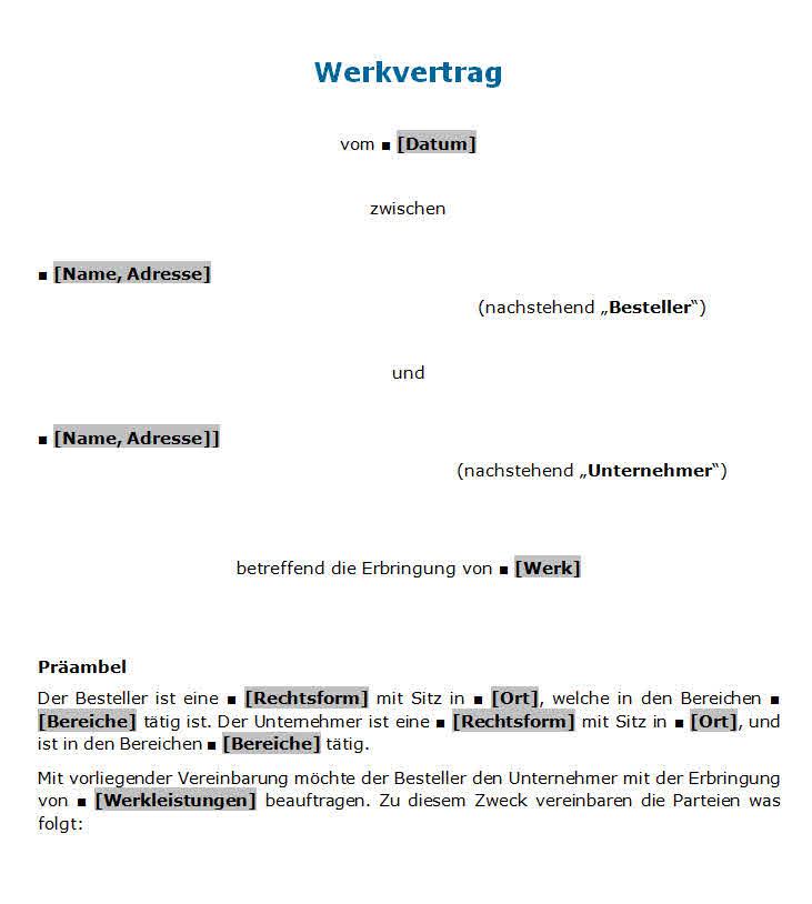 Werkvertrag muster