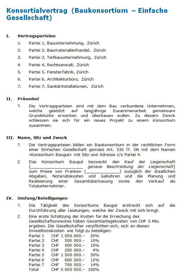 Konsortialvertrag: Muster nach Schweizer Recht zum Download.