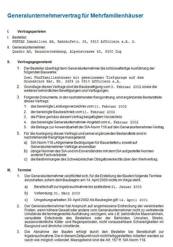 Generalunternehmervertrag Mehrfamilienhaus: Vorlage zum Download.