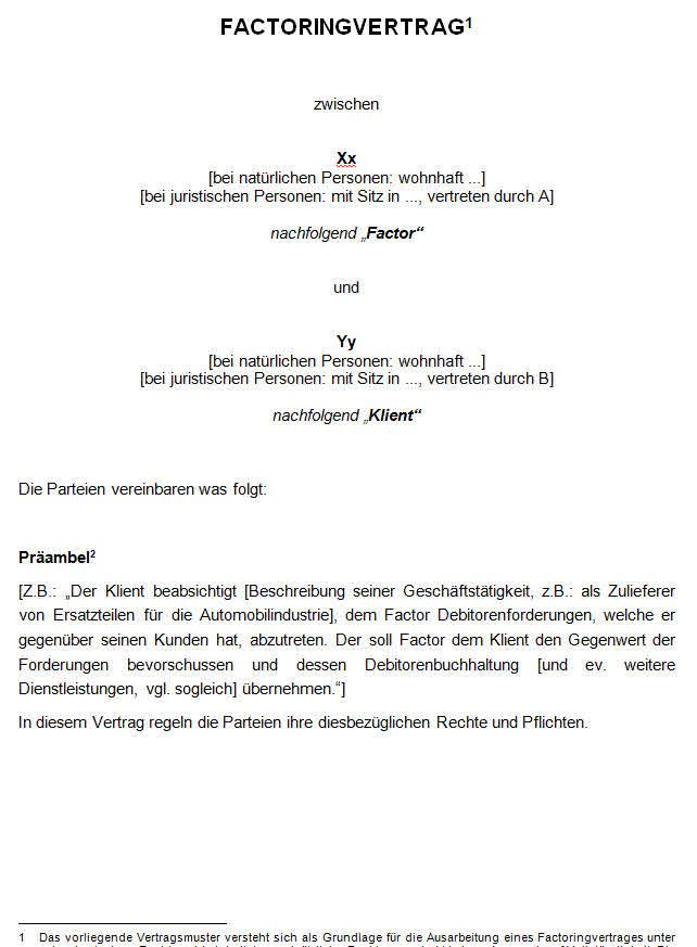 Factoringvertrag Muster Zum Download