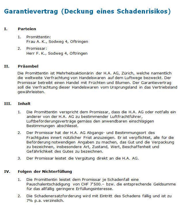 Garantievertrag Muster Zum Download