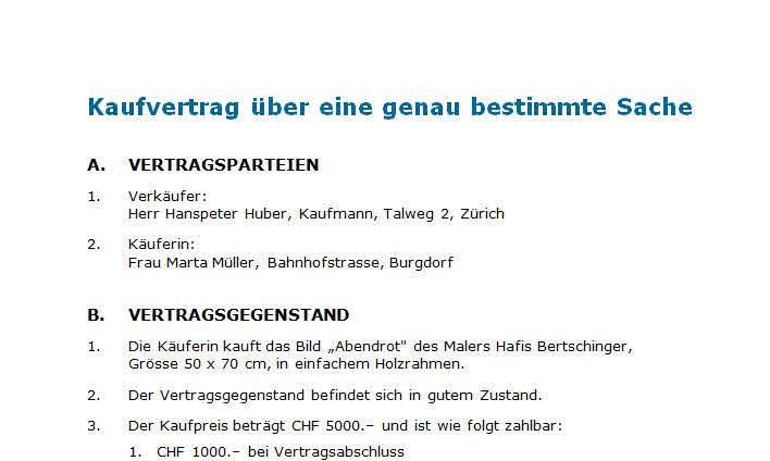 Kaufvertrag Vorlage Nach Schweizer Recht Zum Download