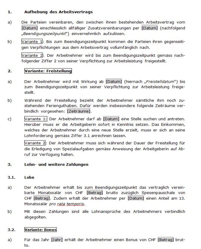 muster fr einen aufhebungsvertrag - Aufhebungsvertrag Muster