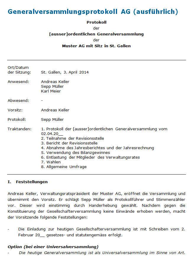 muster protokoll generalversammlung - Protokoll Muster