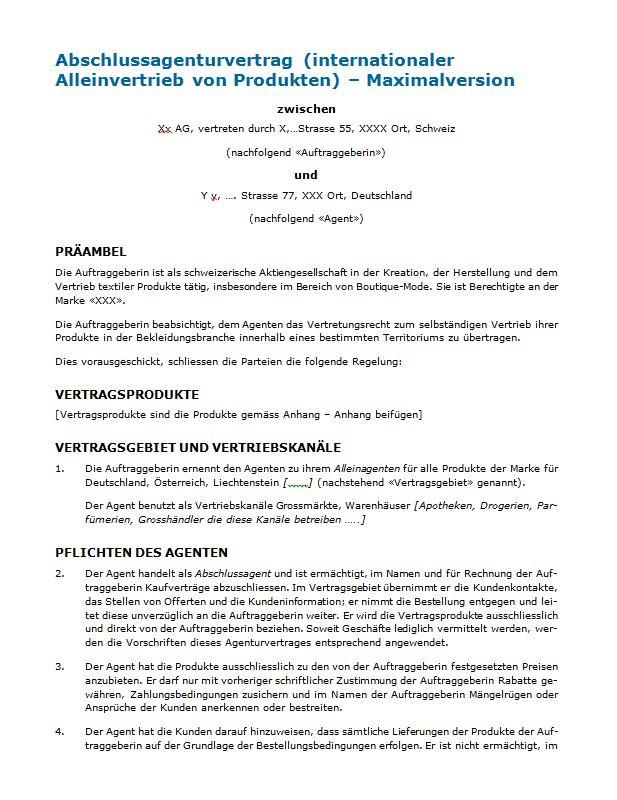 Agenturvertrag: Rechtssicheres Muster zum Download.