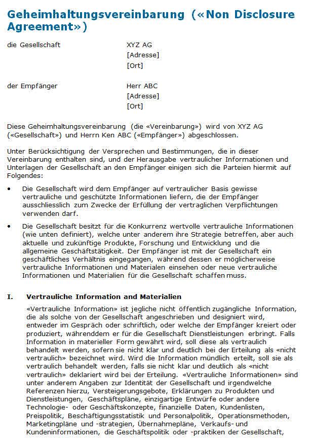 Geheimhaltungsvereinbarung: Muster zum Download.