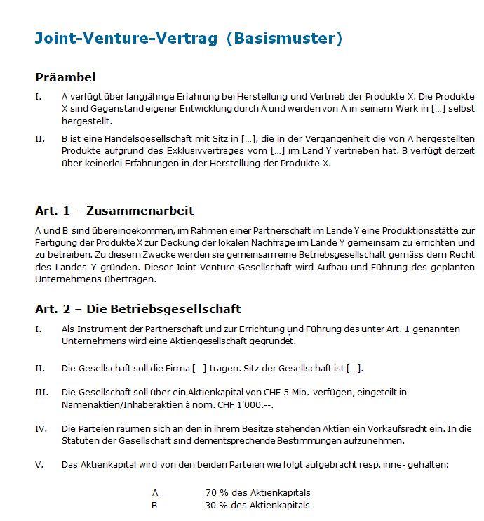 Joint Venture Muster Für Einen Rechtssicheren Vertrag